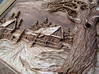 Резная картина из дерева в подарок мужу
